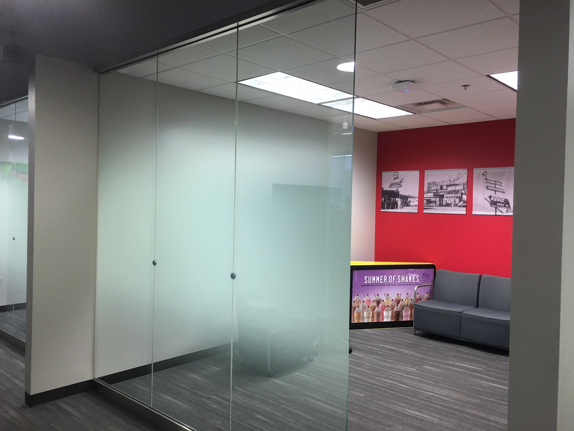 We Install Custom Decorative Glass Film at Sonic Corporation 4