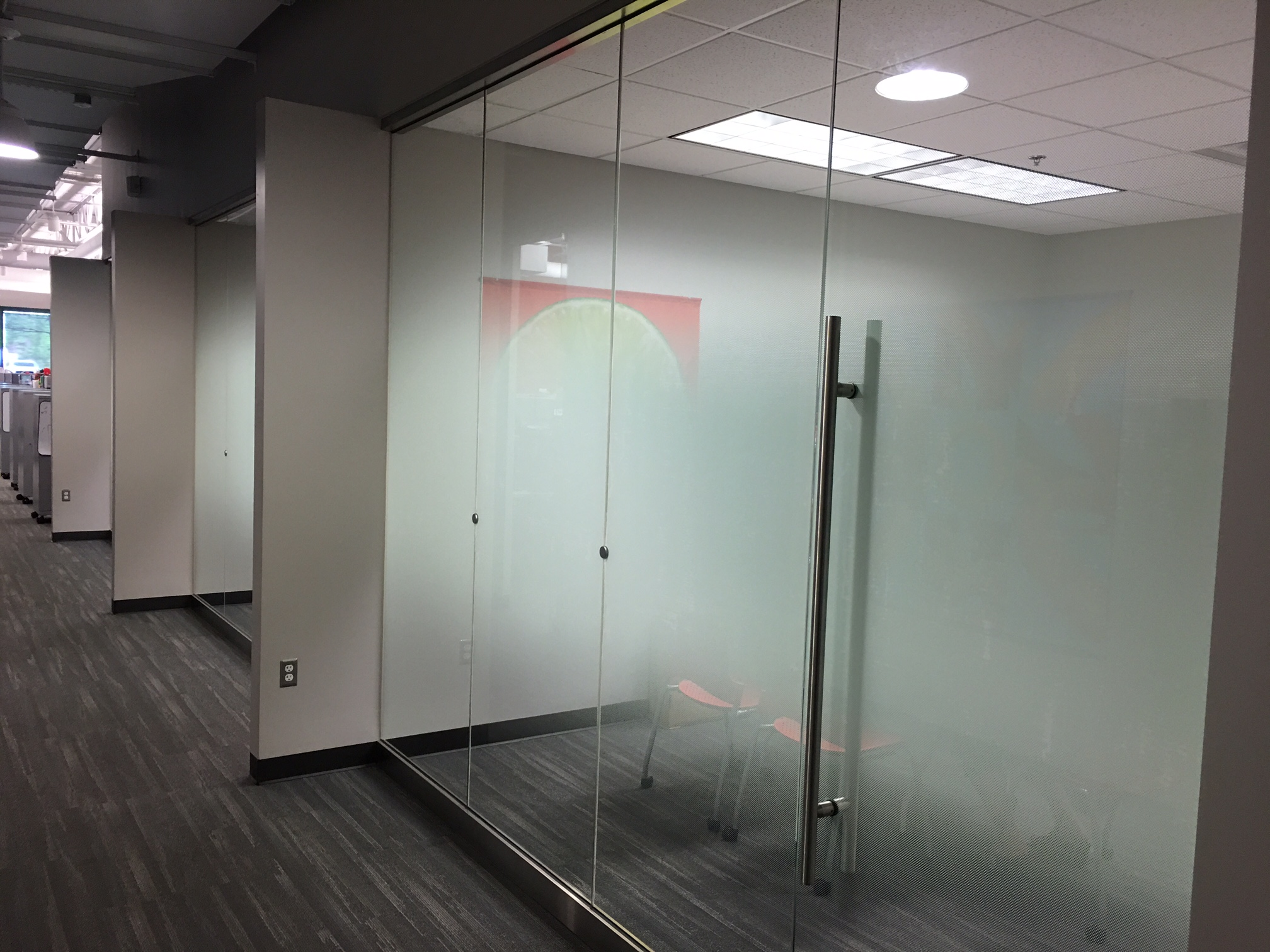 We Install Custom Decorative Glass Film at Sonic Corporation